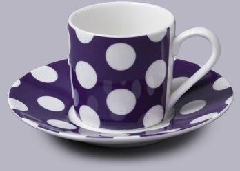 Filiżanka do espresso z talerzykiem w kropki fioletowy
