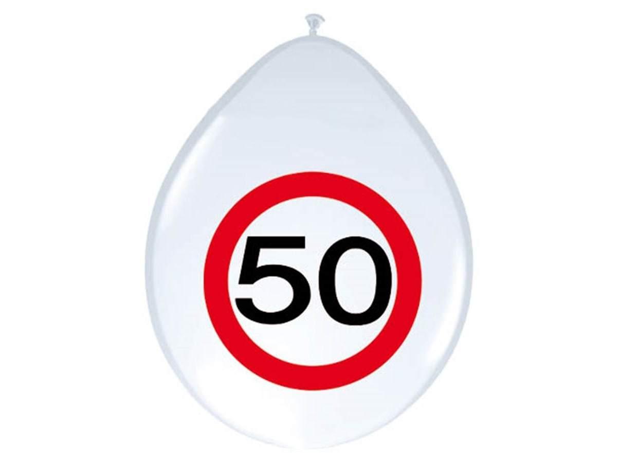 Balony Znak zakazu 50tka - 30 cm - 8 szt.