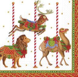 Caspari Entertaining Merry Go okrągłe serwetki obiadowe, białe, opakowanie 20 sztuk, papier, 20 x 3 x 20 cm