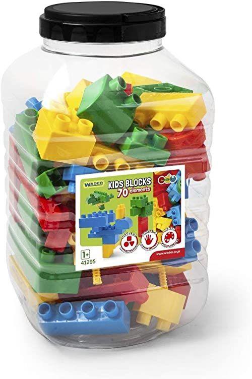 Wader 41295 41295-Kids klocki, 70 części, w różnych kształtach i kolorach, w zestawie praktyczne pudełko z tworzywa sztucznego z pokrywką, ok. 19,5 x 19,5 x 35 cm, od 12 miesięcy, idealne na prezent