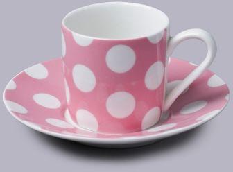 Filiżanka do espresso z talerzykiem w kropki różowy