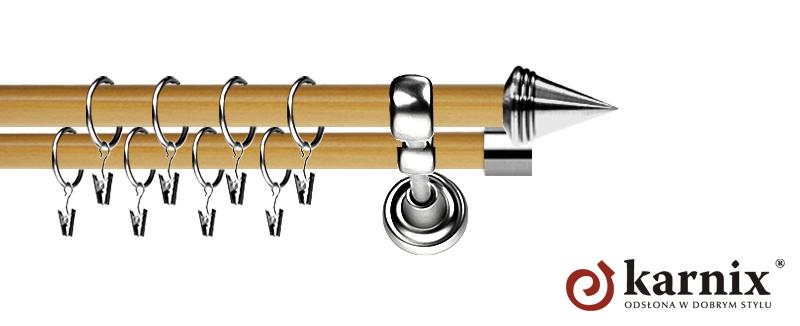 Karnisz Metalowy Prestige podwójny 19/19mm Stożek INOX - pinia