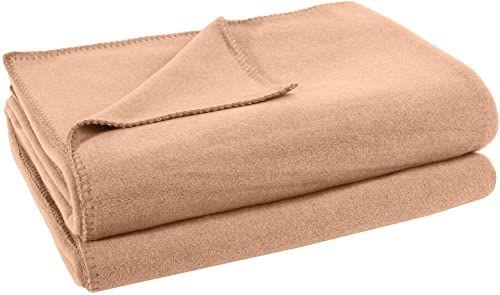 zoeppritz since 1828 miękki koc polarowy z haftem szydełkowym, miękki koc do przytulania, 220 x 240 cm, 040 piaskowy,