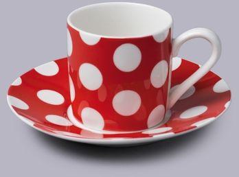 Filiżanka do espresso z talerzykiem w kropki czerwony