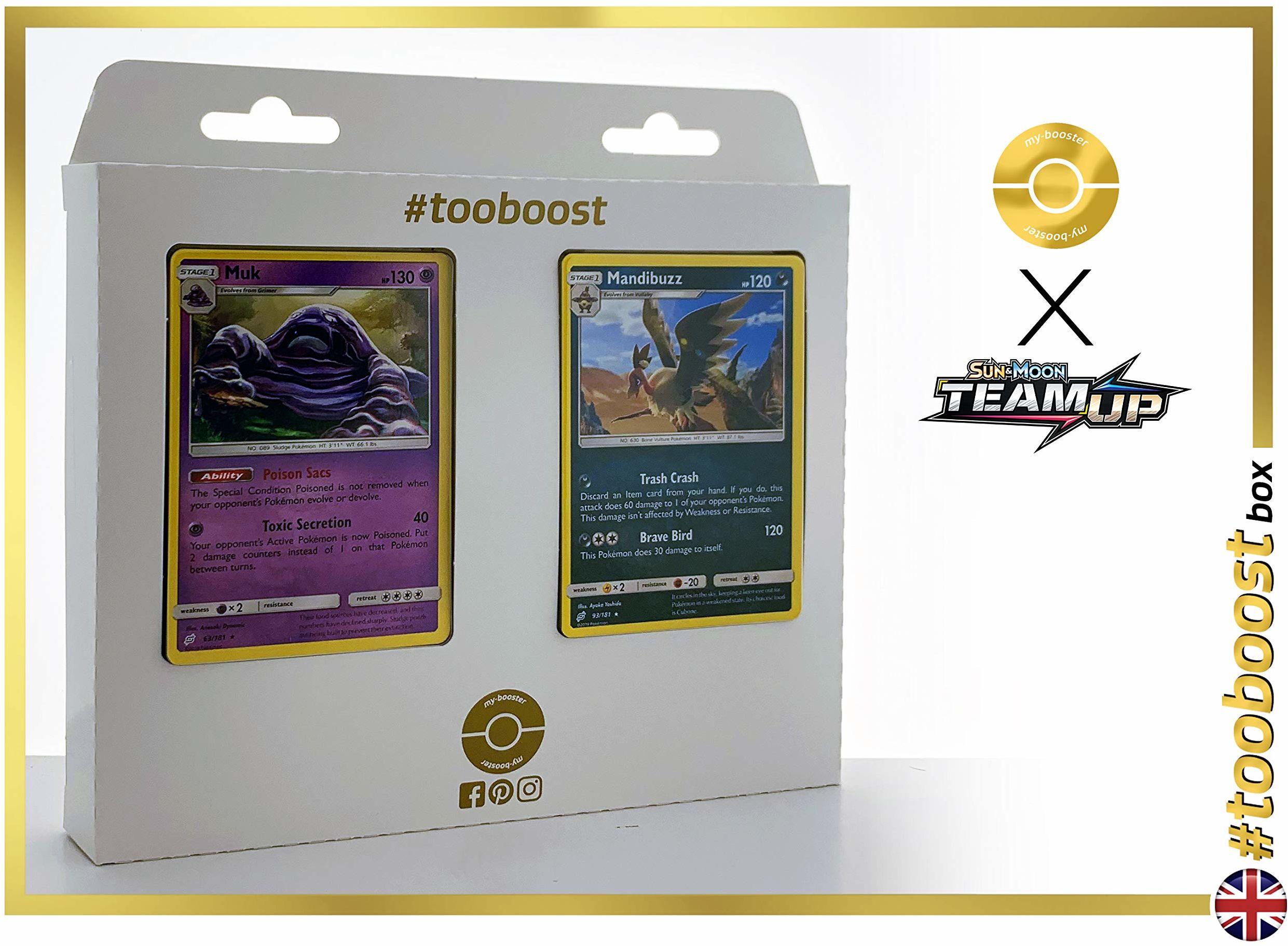 Muk (Sleimok) 63/181 & Mandibuzz (Grypheldis) 93/181  #tooboost X Sun & Moon 9 Team Up  pudełko z 10 angielskimi kartami Pokémon + 1 Goodie Pokémon