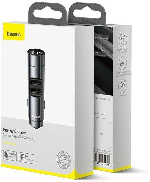 Baseus Energy Column Transmiter FM Bluetooth + ładowarka samochodowa 2x USB