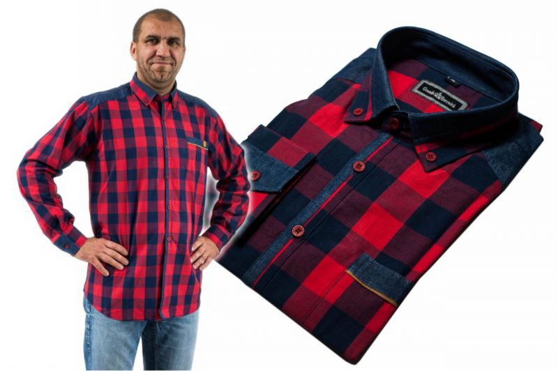 Koszula męska casual czerwono-granatowa duża krata