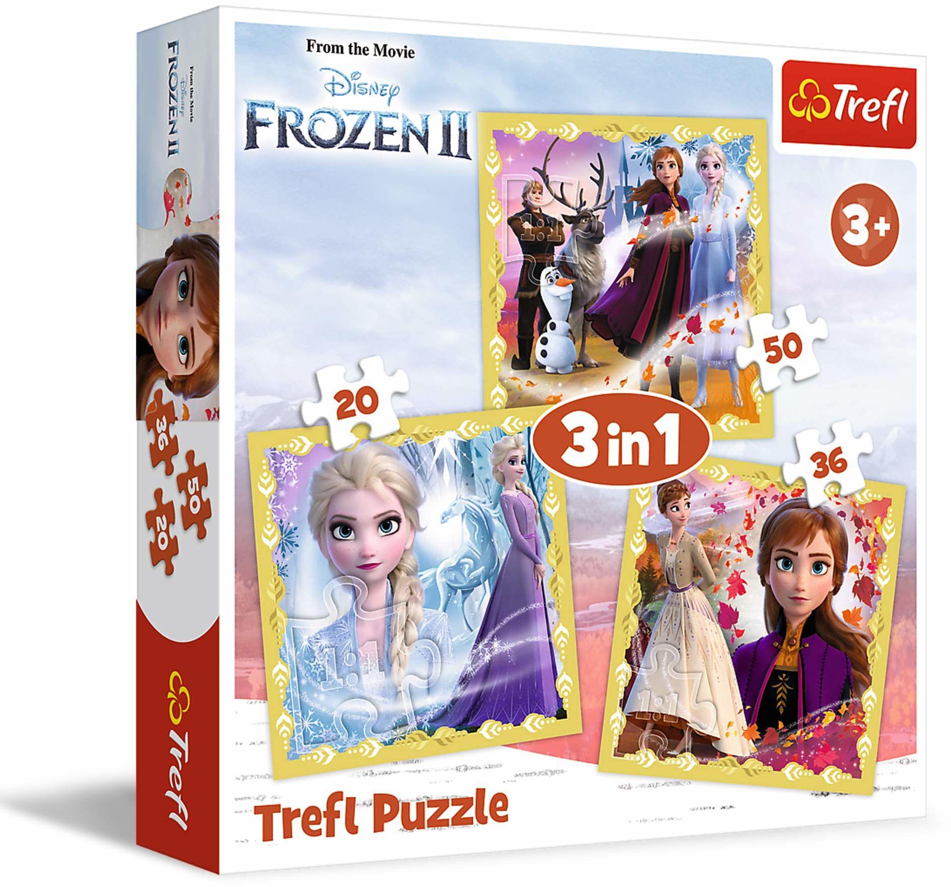 Trefl Moc Anny i Elsy Puzzle 3 w 1 Disney Frozen 2 o Wysokiej Jakości Nadruku dla Dzieci od 3 lat