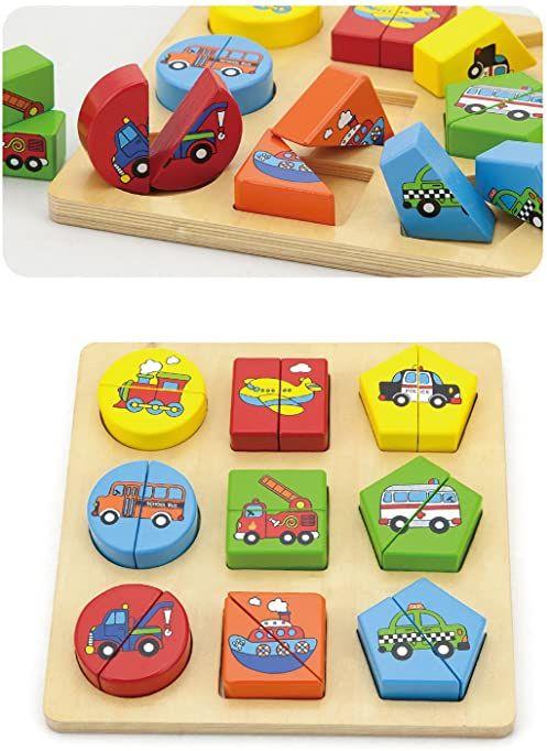 Viga Toys - drewniane puzzle formy - pojazdy