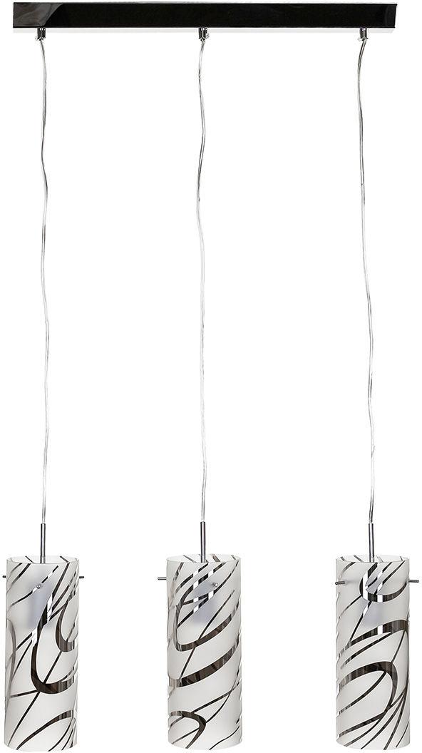 Italux lampa wisząca Halo MDM1850-3 chrom szkło potrójna na listwie 55cm