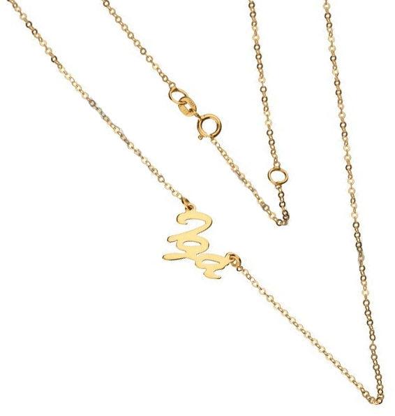 Złoty naszyjnik 333 łańcuszek z zawieszką imię Iga 0,95 g