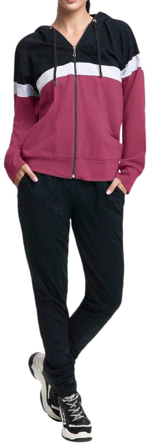 Bawełniany dres damski komplet LUNA 307 bordowy