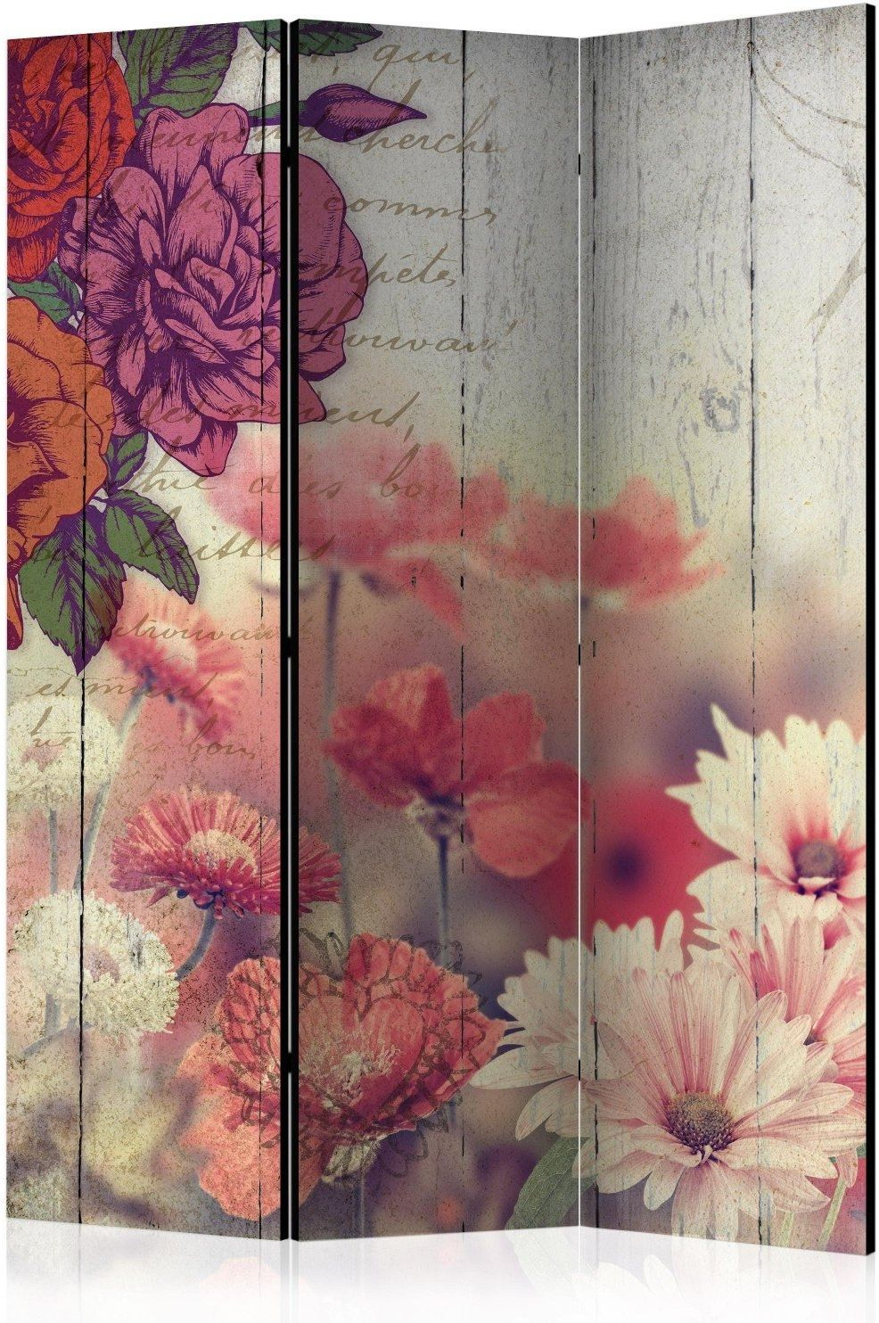 Parawan 3-częściowy - kwiaty vintage [room dividers]