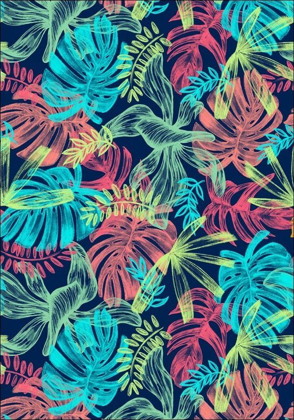 Liście tropikalne, turkusowe neony  plakat wymiar do wyboru: 21x29,7 cm