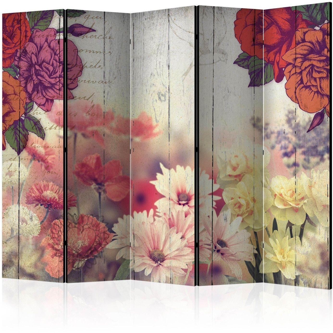 Parawan 5-częściowy - kwiaty vintage ii [room dividers]