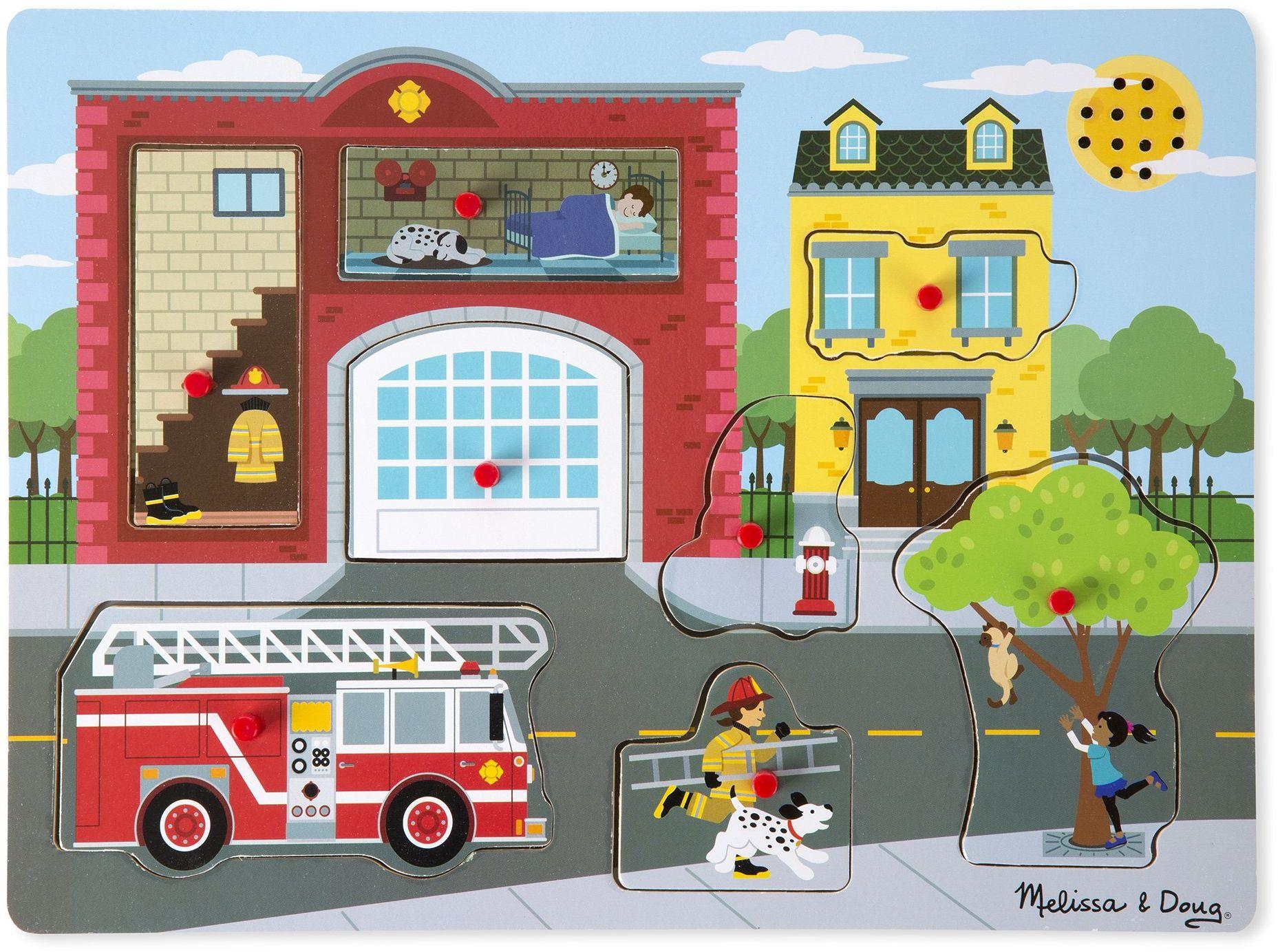 Melissa & Doug Puzzle dźwiękowe wokół Fire Station łamigłówki drewno 2+ Prezent dla chłopca lub dziewczynki