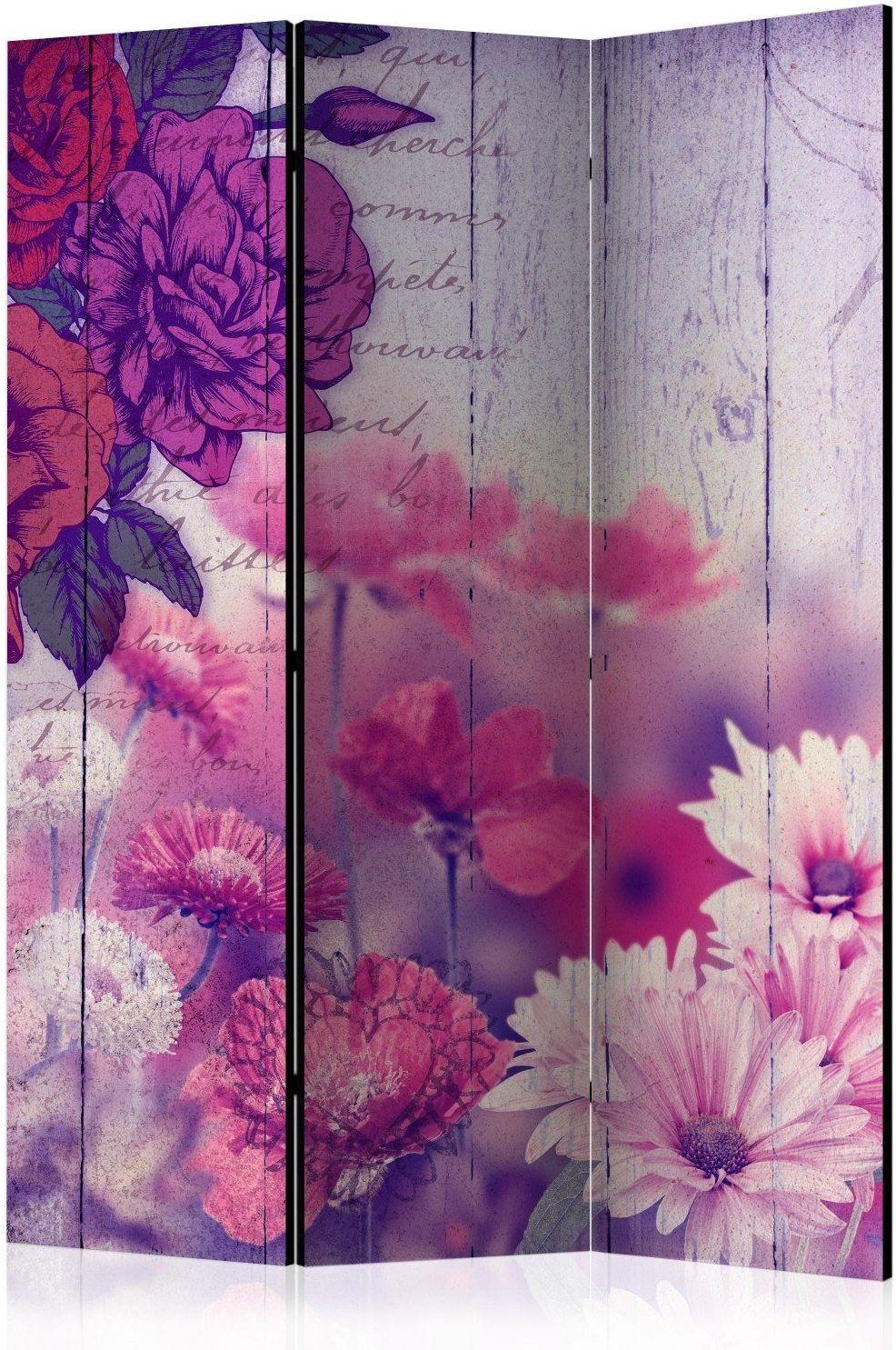 Parawan 3-częściowy - kwiatowe wspomnienie [room dividers]