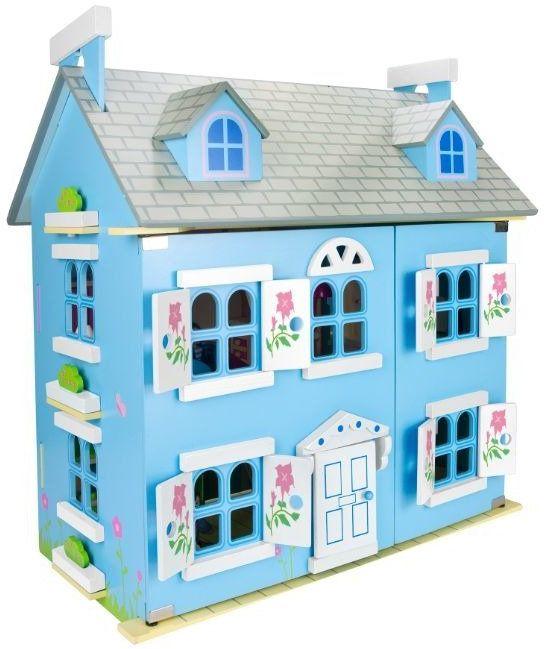 Błękitny Alpejski domek drewniany dla lalek z mebelkami i lalkami