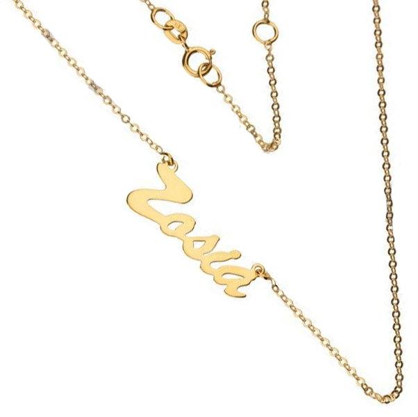 Złoty naszyjnik 333 łańcuszek z zawieszką imię Zosia 1 g