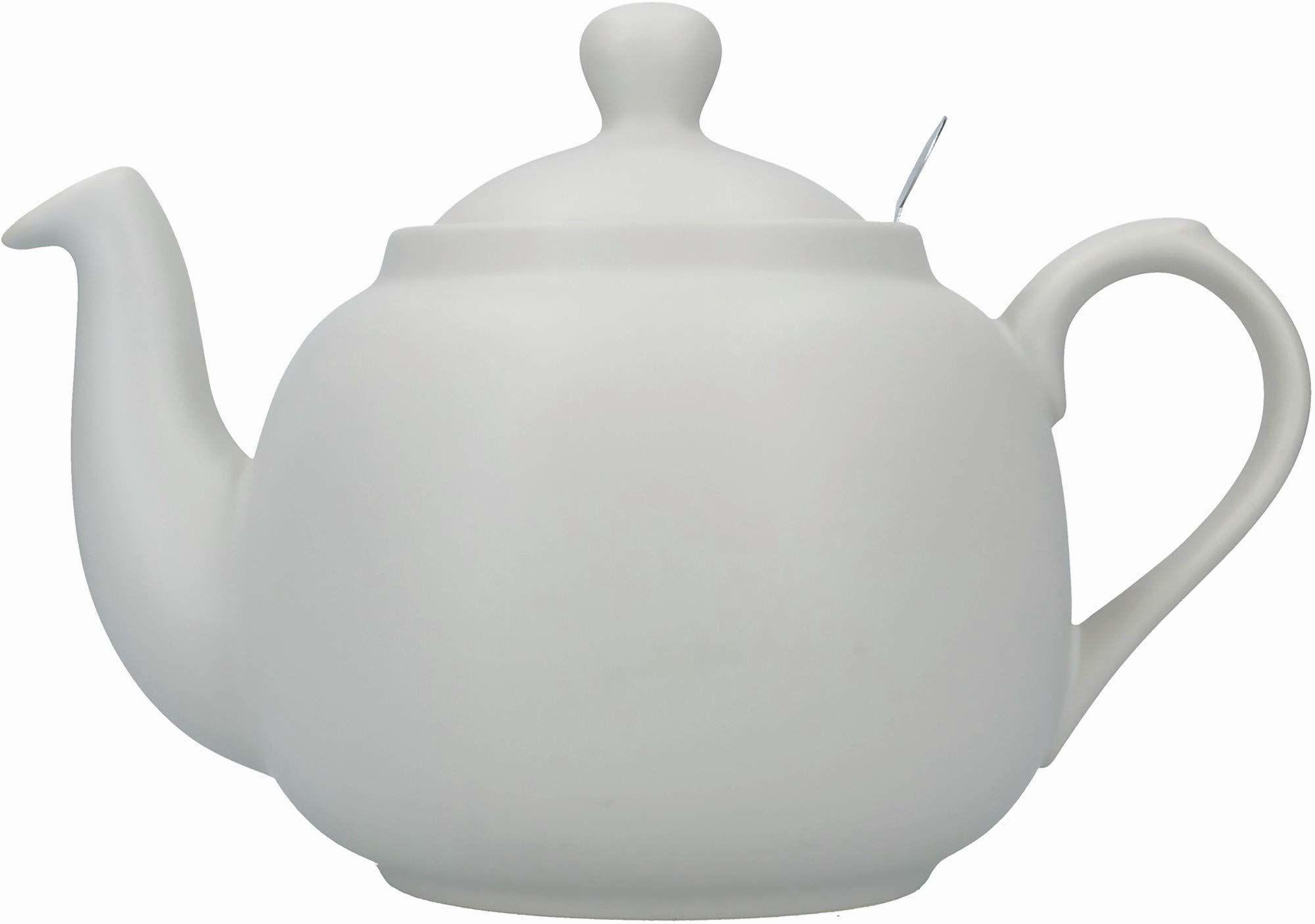 Londyńska ceramika wiejska czajniczek z zaparzaczem w pudełku upominkowym, ceramiczny, skandynawski szary, 6 filiżanek (1,5 litra)