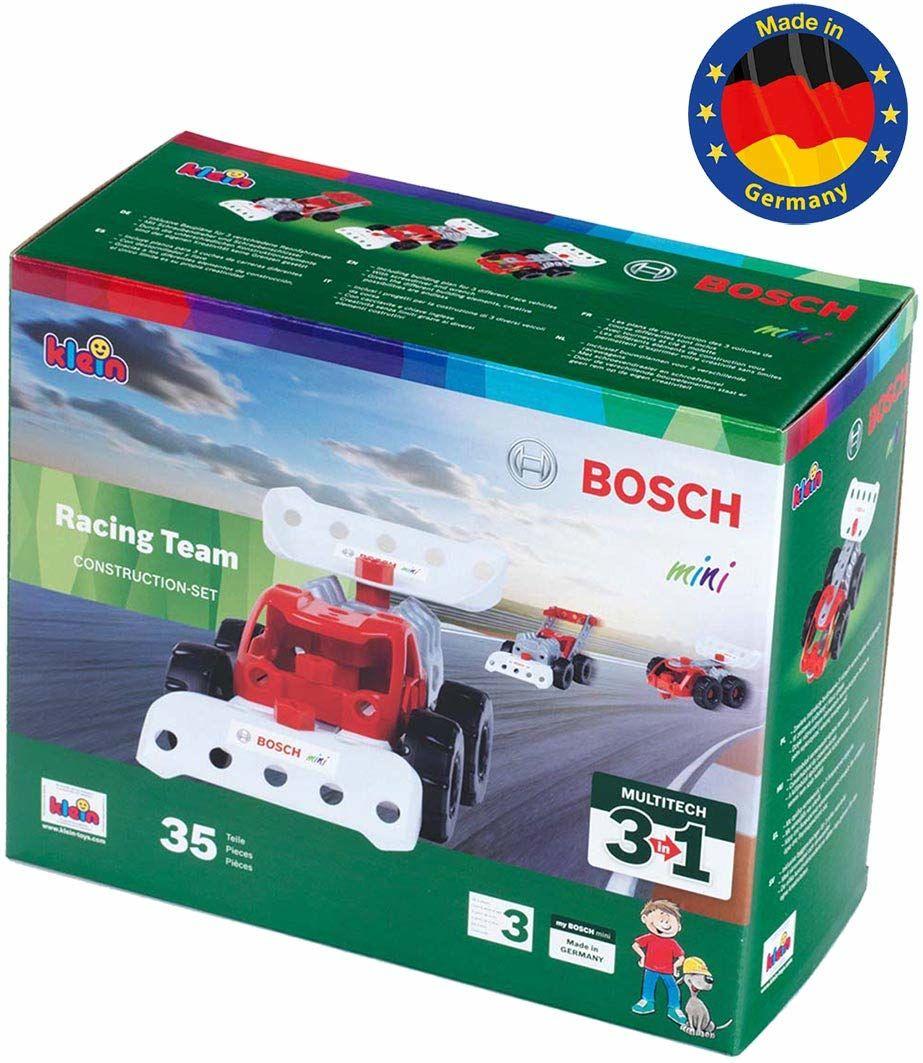 Theo Klein 8793 Bosch 3 w 1: Zestaw do konstrukcji pojazdów wyścigowych Racing Team Do budowania różnych pojazdów wyścigowych Zawiera plany konstrukcyjne 3 modeli