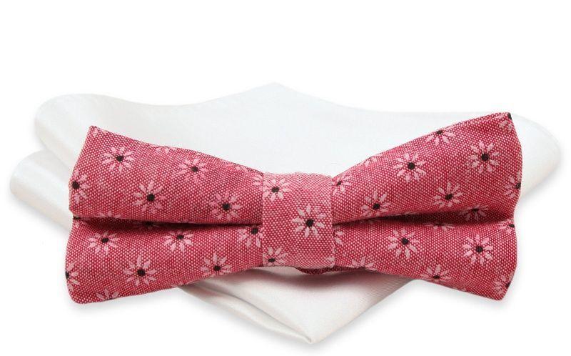 Malinowa Mucha Męska -ALTIES- z Białą Poszetką, w Kwiaty, Motyw Florystyczny, Matowa MUALTS0376