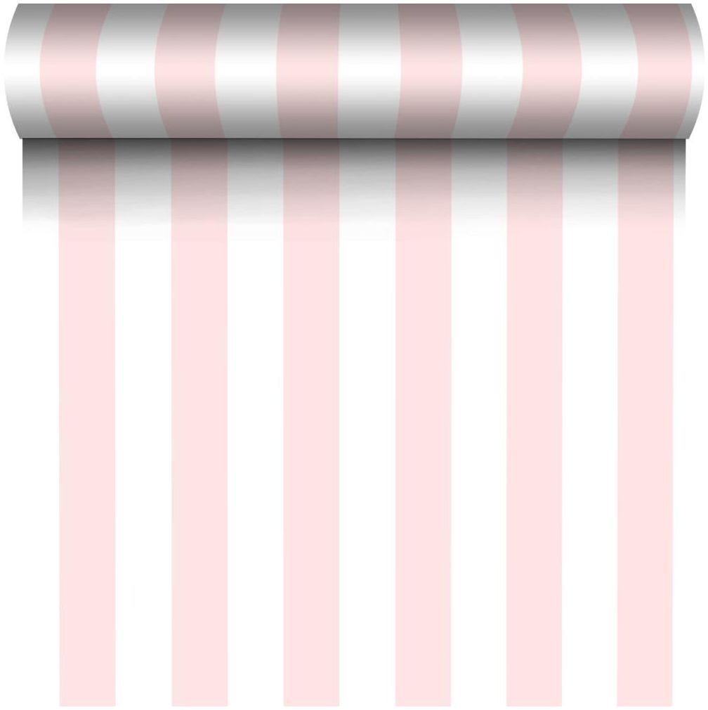Tapeta w pasy GRAND STRIPES biało-różowa winylowa na flizelinie