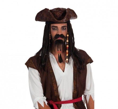 Zarost Pirata, wąsy i broda z koralikami