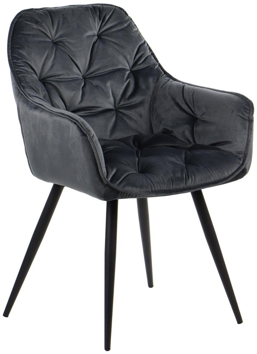 Krzesło CN-9220 szare aksamitne pikowane  KUP TERAZ - OTRZYMAJ RABAT