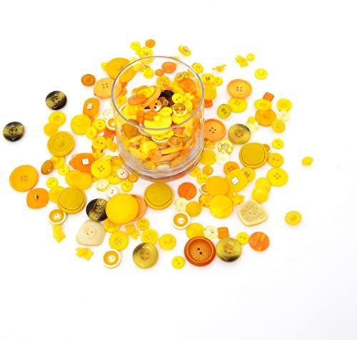 Trimz różne kształty i rozmiary guziki, żółty, 250 g