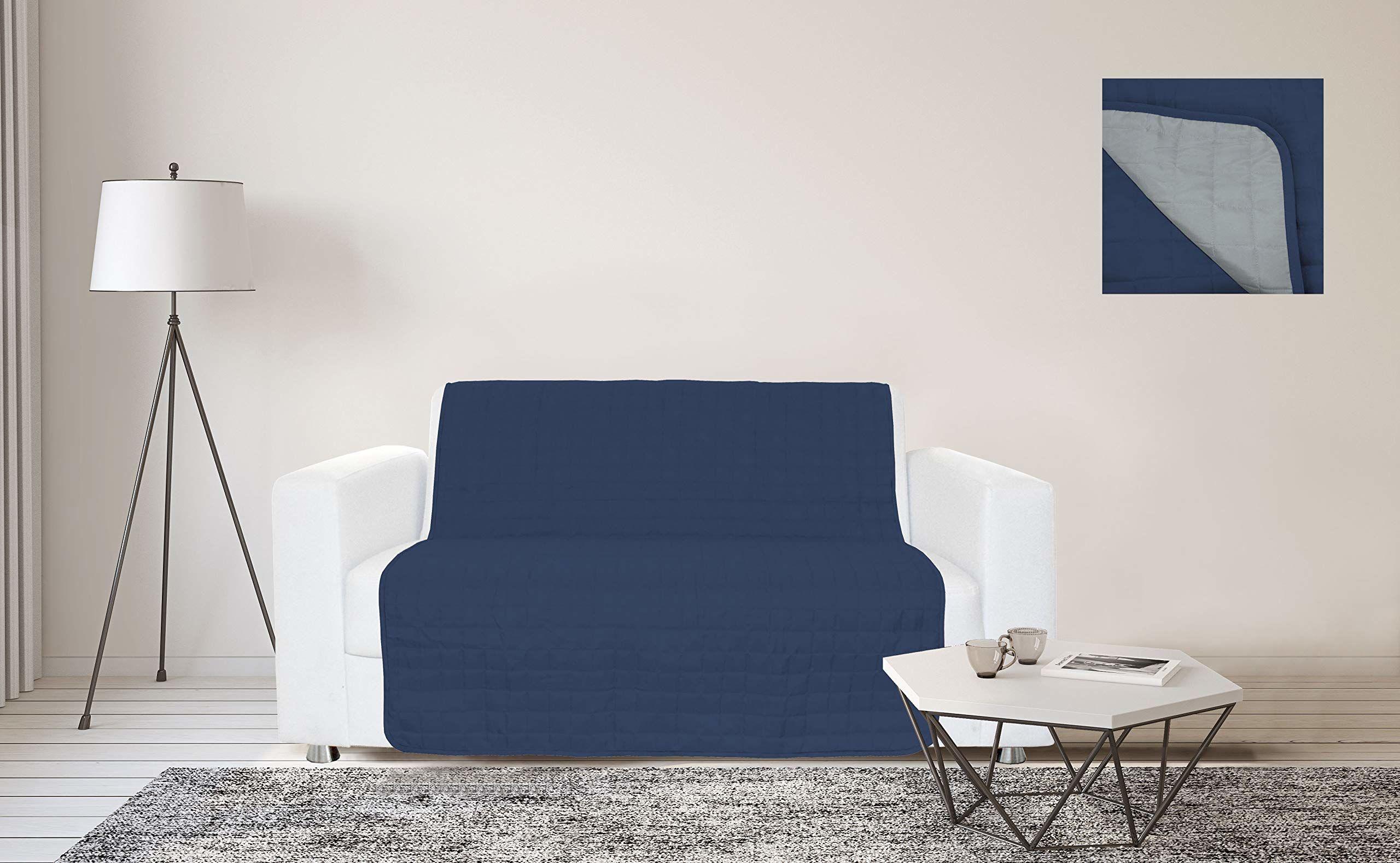 Sogni e Capricci Wodoodporny pasek na sofę, 175 x 190 cm, ciemnoniebieski/jasnoszary, 3 miejsca