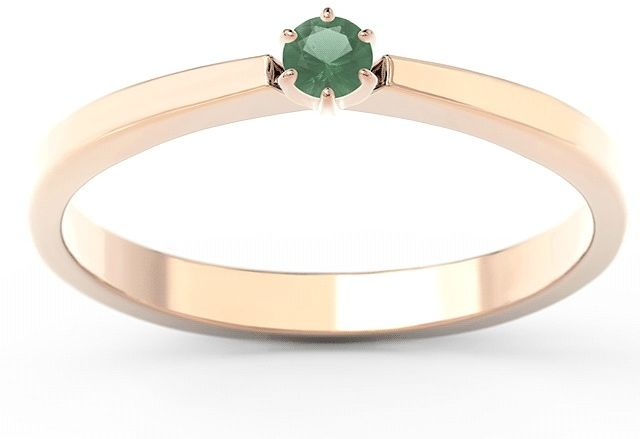 Pierścionek zaręczynowy z różowego i białego złota ze szmaragdem cp-2410pb