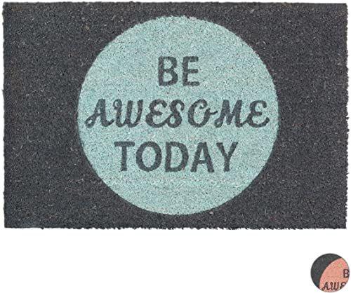 Relaxdays Coir wycieraczka z włókna kokosowego mata podłogowa ''Be Awesome Today'' mata powitalna 40 x 60 cm, antypoślizgowa mata z PCW na spodzie, szara