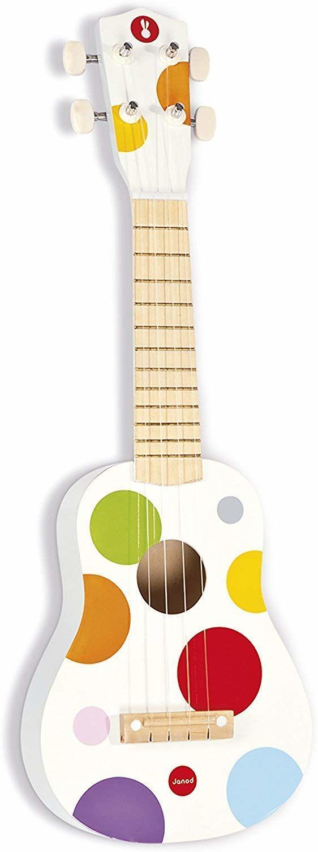 """Janod Drewniane ukulele """"konfetti""""  drewniana zabawka dla dzieci  instrument muzyczny dla dzieci  gitara dziecięca  od 3 lat, J07597"""