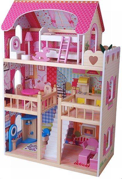 Luksusowy domek dla lalek z drewna - zabawki dla dziewczynek