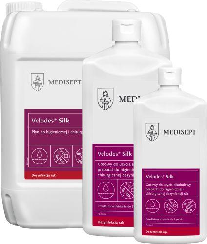 Płyn do higienicznej i chirurgicznej dezynfekcji rąk z gliceryną - skuteczność i pielęgnacja dłoni (Velodes Silk Medisept)