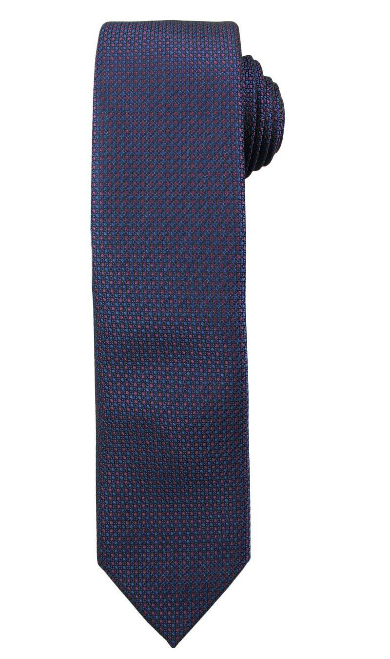 Granatowy Elegancki Męski Krawat -ALTIES- w Drobne Różowe Kropki, Groszki KRALTS0216