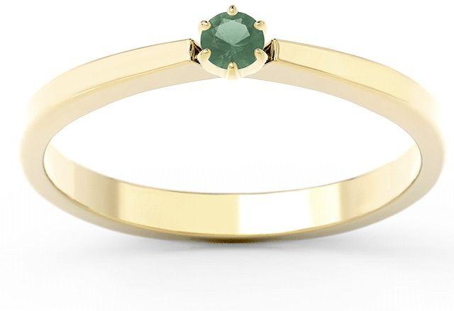 Pierścionek zaręczynowy z żółtego i białego złota ze szmaragdem cp-2410zb