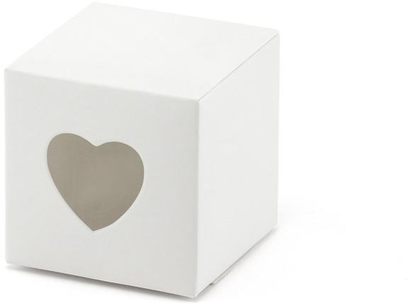 Białe pudełeczka z wyciętym sercem 10 sztuk PUDP9