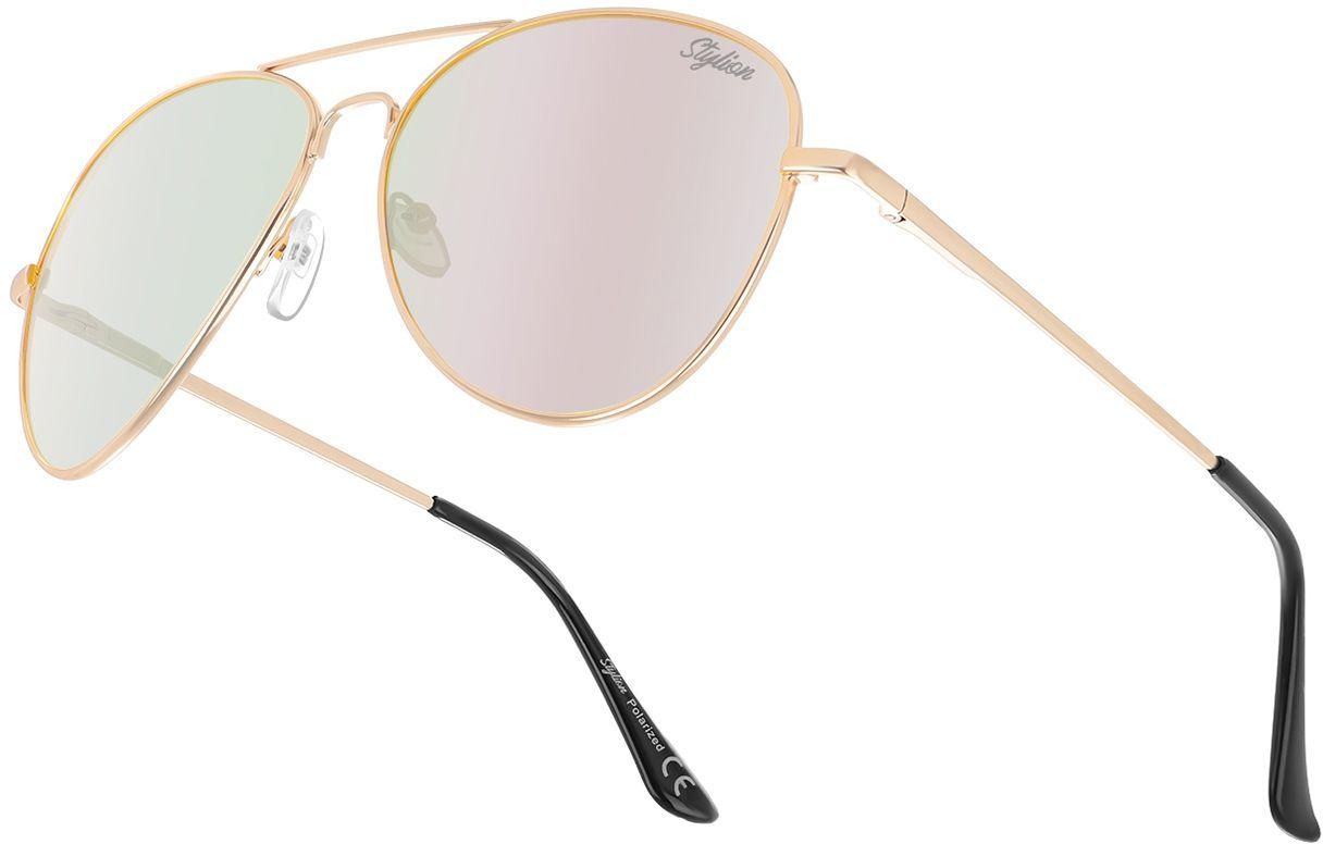 Okulary Pilotki Przeciwsłoneczne Polaryzacyjne z różową lustrzanką Stylion STL-03C13