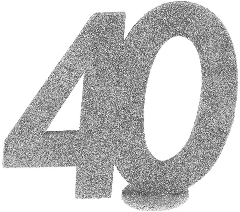 Dekoracja stołu Czterdziestka srebrna 40-stka - 1 szt.