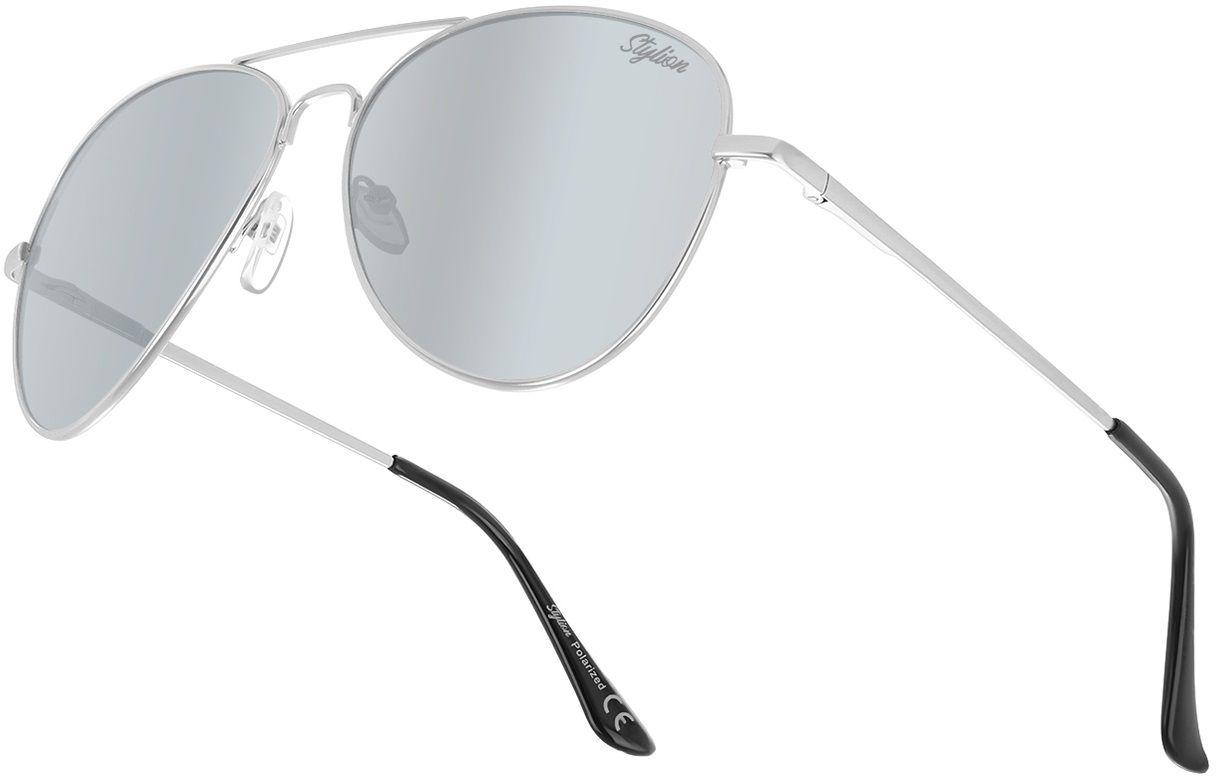 Srebrne Okulary Pilotki Przeciwsłoneczne Polaryzacyjne Lustrzanki Stylion STL-03C7