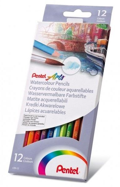 Kredki akwarelowe 12 kolorów + 15 arkuszy bloczków akwarelowych PENTEL /ZESTAW CB9-12-FRH-B/