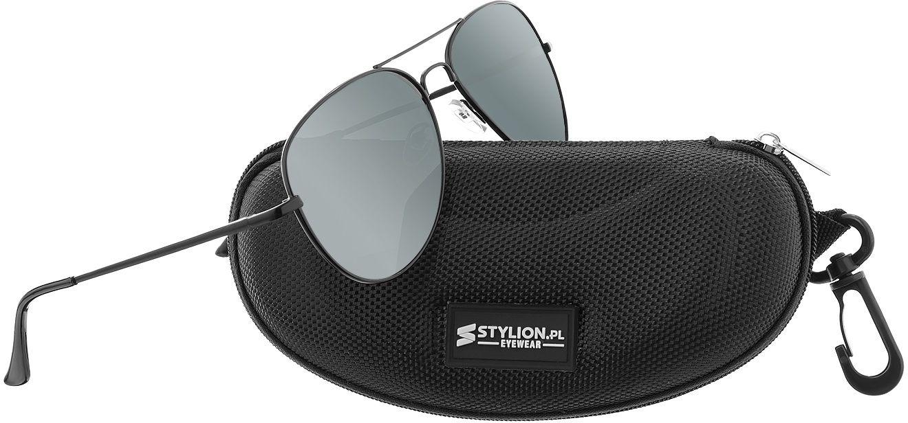Czarne Okulary Pilotki Przeciwsłoneczne Polaryzacyjne Stylion STL-03C1