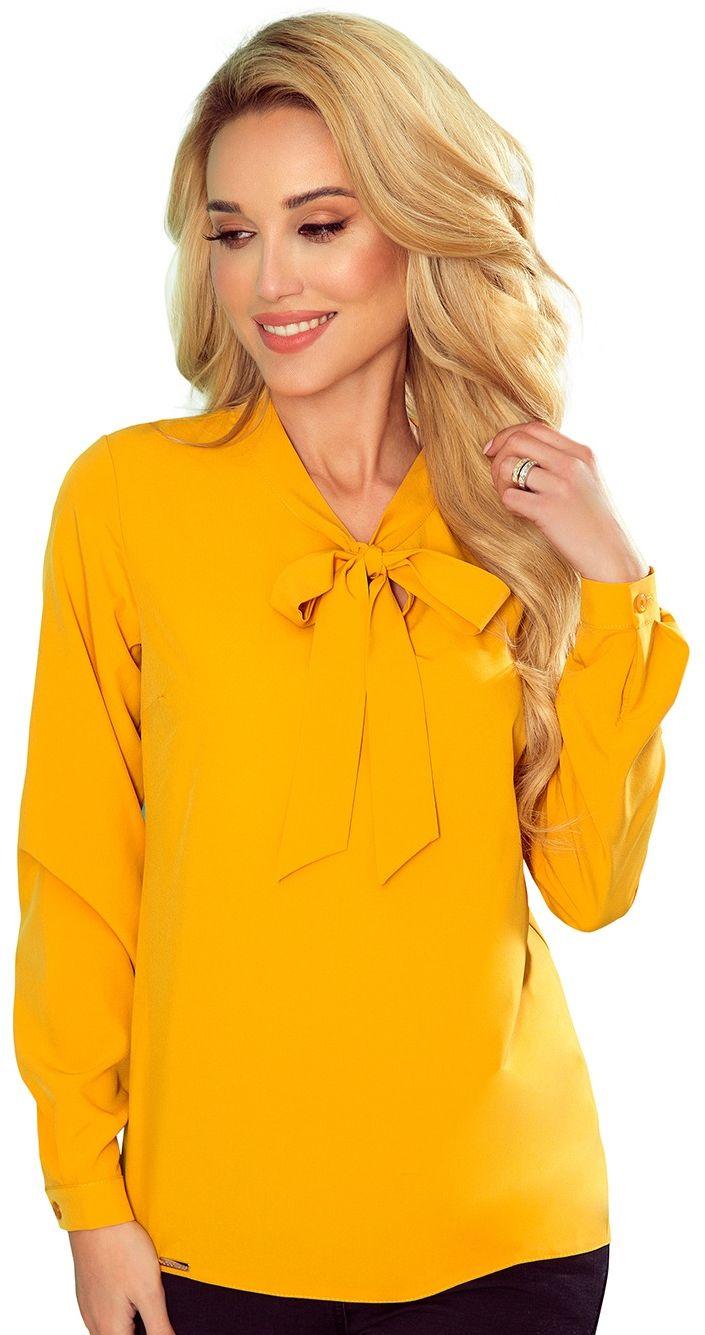Bluzka elegancka z wiązaną szarfą w kolorowe ważki - musztardowa