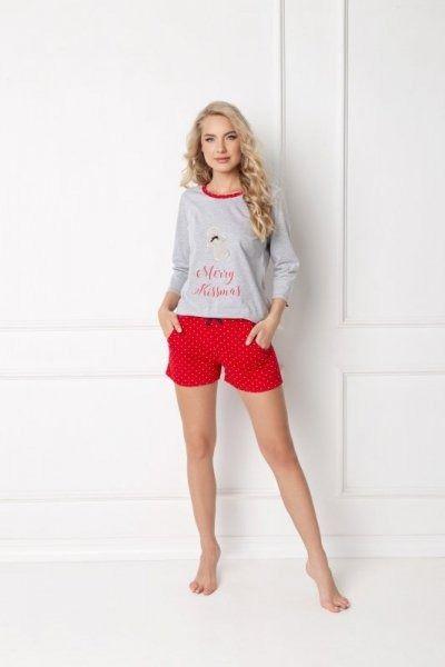 Aruelle cookie short grey-red piżama damska