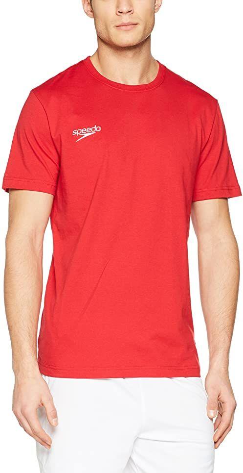 Speedo Basic Sml Logo T-Sh T-Shirt, czerwony, M dla mężczyzn