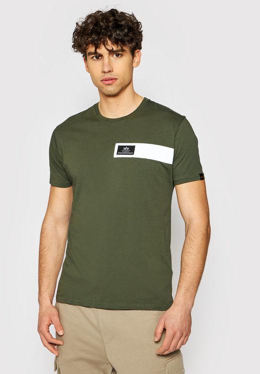 Alpha Industries T-Shirt Reflective Stripes 198510 Zielony Regular Fit