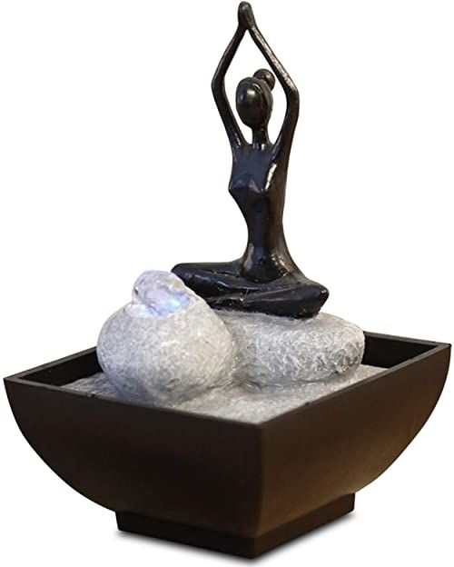 zen'' Light yoga2 fontanna z żywicy poliestrowej, czarna, 12 x 12 x 17 cm