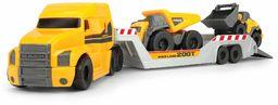 Dickie Toys Volvo Mack Truck, z 2 pojazdami Volvo na przyczepę, wywrotkę i ładowarkę rowerową, przyczepa do odłączania, ruchome części, 32 cm długości całkowitej, piaskownica, żółty/szary